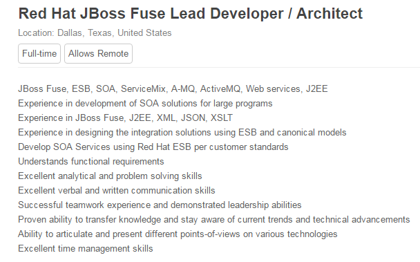Red Hat JBoss Fuse Lead Developer - Austin