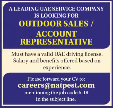 Outdoor Salesman in a company United Arab Emirates
