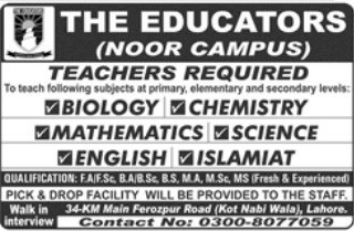 Biology Teacher in a company Pakistan