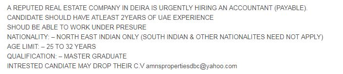 ACCOUNTANT (PAYABLE) in a company United Arab Emirates