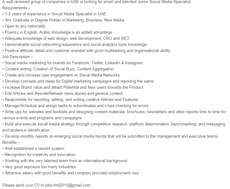 Social Media Marketing Specialist in a company United Arab Emirates