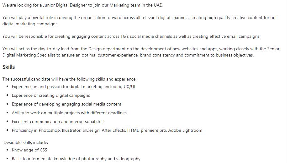 Junior Digital Designer in a company United Arab Emirates