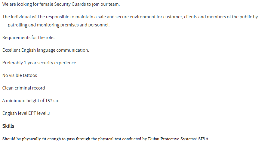 Security Guard (Female) in a company United Arab Emirates