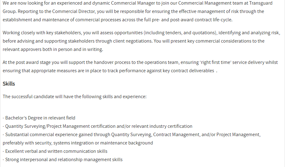 Commercial Manager in a company United Arab Emirates