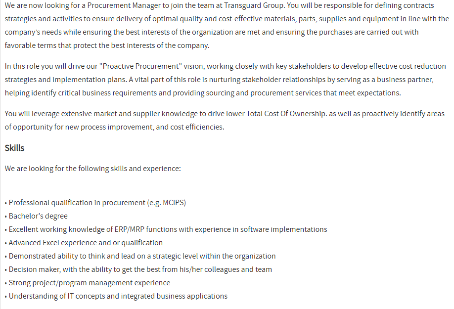 Procurement Manager in a company United Arab Emirates