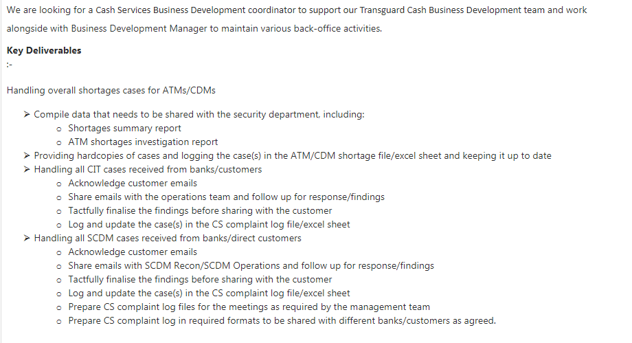 Business Development Coordinator in a company United Arab Emirates