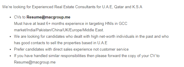 Real Estate Sales Officers in a company United Arab Emirates