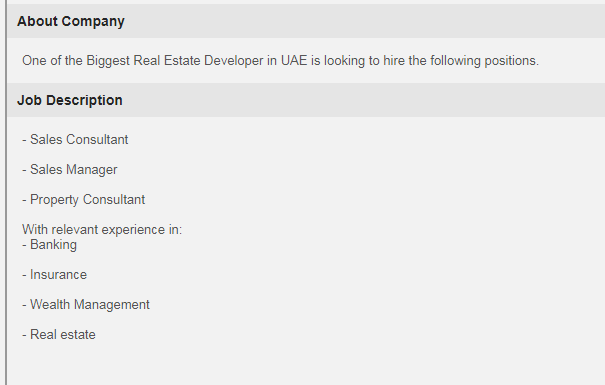 Real Estate Agents in a company United Arab Emirates