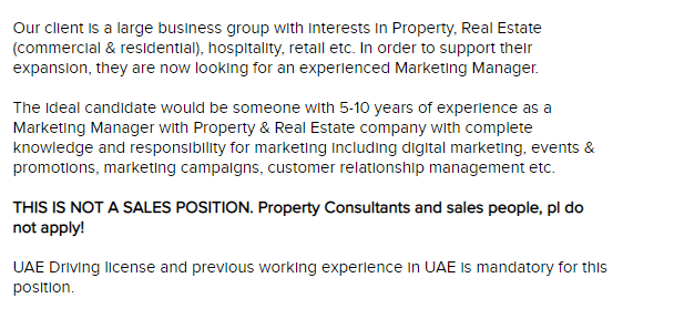 Marketing Manager- Real Estate in a company United Arab Emirates