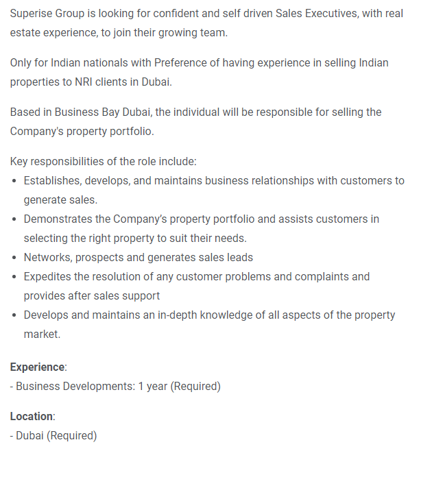 Real Estate Sales Agent in a company United Arab Emirates