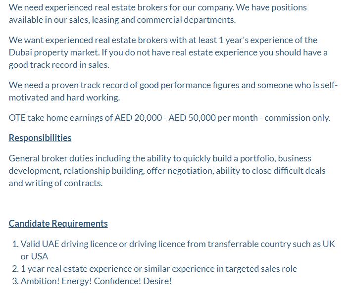 Real Estate Broker in a company United Arab Emirates