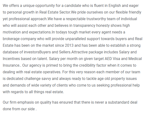 Property Consultant in a company United Arab Emirates