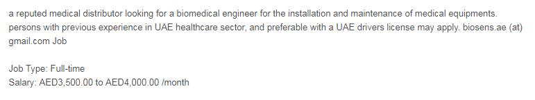 Biomedical Engineer in a company United Arab Emirates