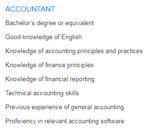 ACCOUNTANT in a company United Arab Emirates