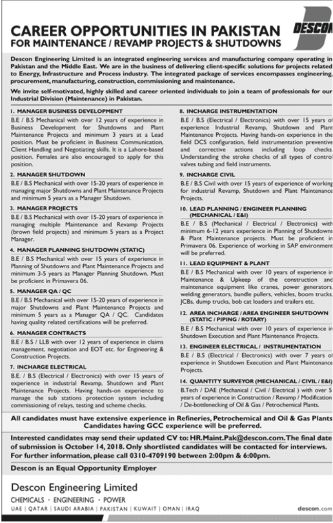 Contracts Manager in a company Pakistan