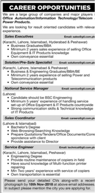 Pre Sales Specialist in a company Pakistan Karachi