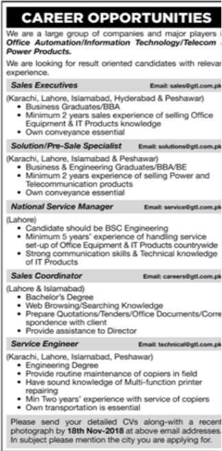 National Service Manager in a company Pakistan Karachi