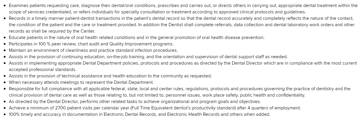 Dentist in a company United States Chicago