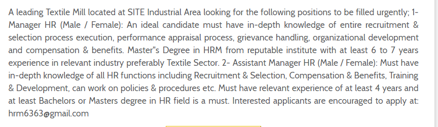 Assistant Manager HR in a company Pakistan Karachi