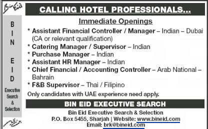 Chief Financial Officer in a company United Arab Emirates Dubai