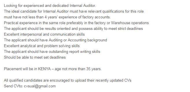Internal Auditor in a company United Arab Emirates Dubai