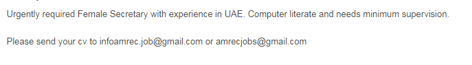 Female Secretary in a company United Arab Emirates Sharjah
