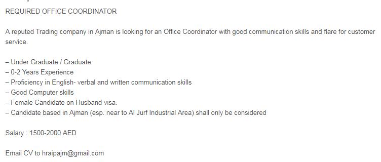 OFFICE COORDINATOR in a company United Arab Emirates Ajman