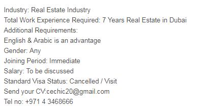 Sales Supervisor in a company United Arab Emirates Dubai