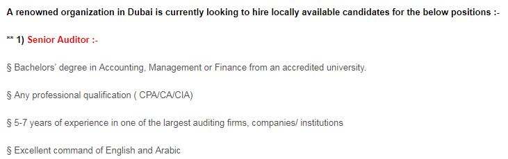 Senior Auditor in a company United Arab Emirates Dubai