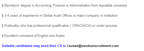Junior Auditor in a company United Arab Emirates Dubai