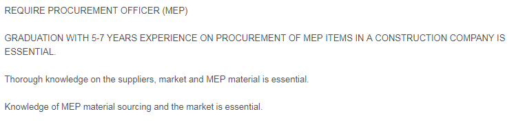 Procurement Officer (MEP) in a company United Arab Emirates Abu Dhabi