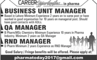Business Unit Manager in a company Pakistan Lahore