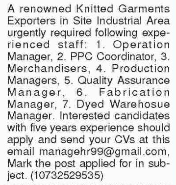 Operation  Manager in a company Pakistan Karachi