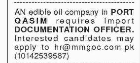 DOCUMENTATION OFFICER in a company Pakistan Karachi
