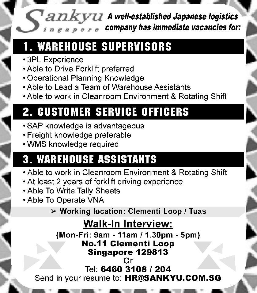WAREHOUSE SUPERVISOR in a company Singapore Singapore