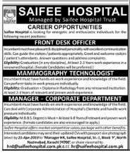 Mammography Technologist in a company Pakistan Karachi