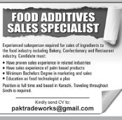 Sales Specialist in a company Pakistan Karachi