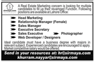Head Marketing in a company Pakistan Lahore
