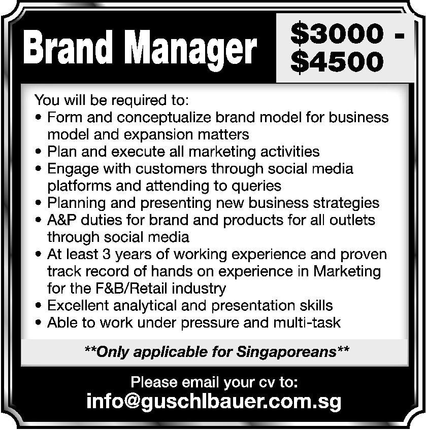Brand Manager in a company Singapore Singapore