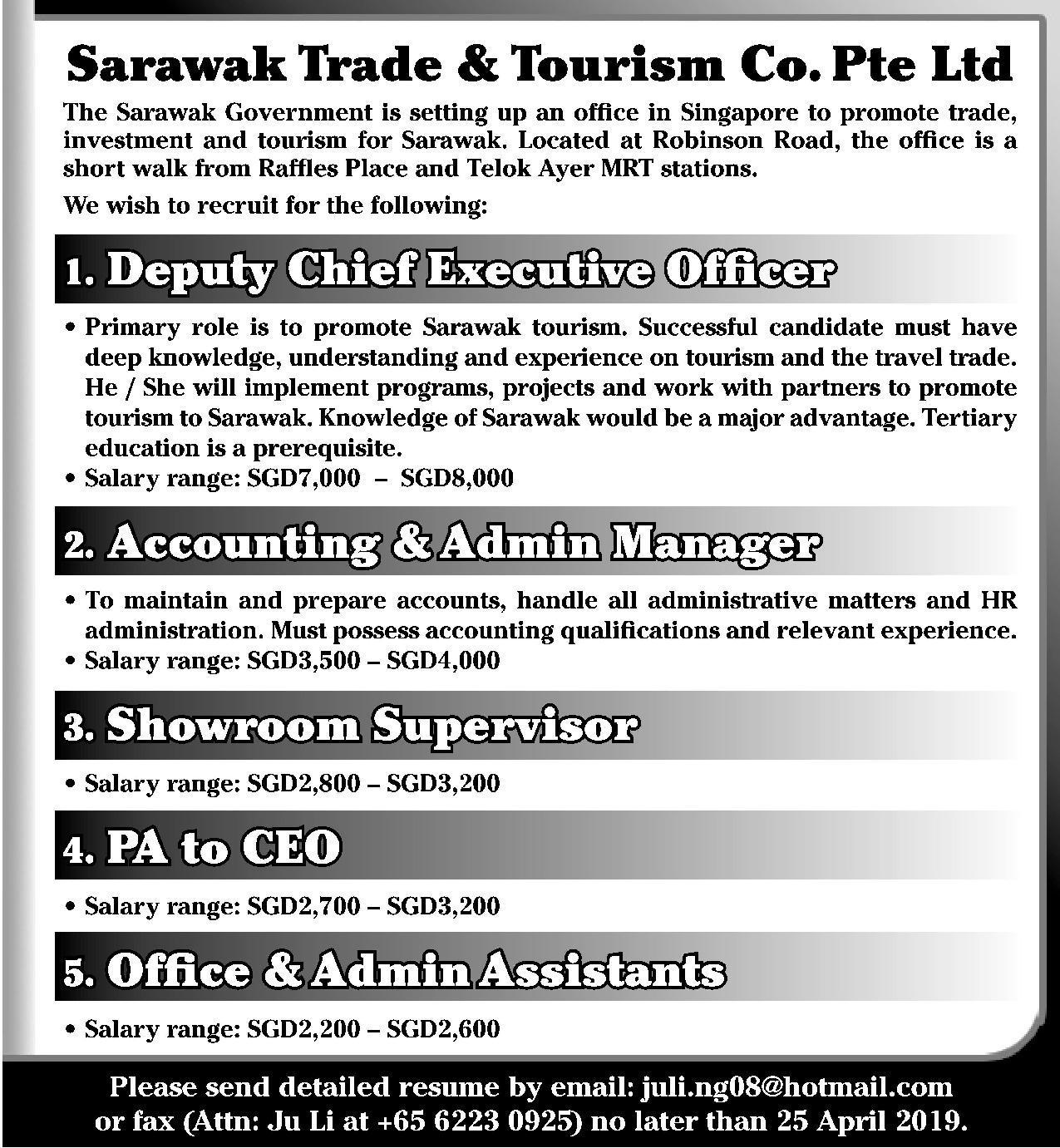 Showroom Supervisor in a company Singapore Singapore