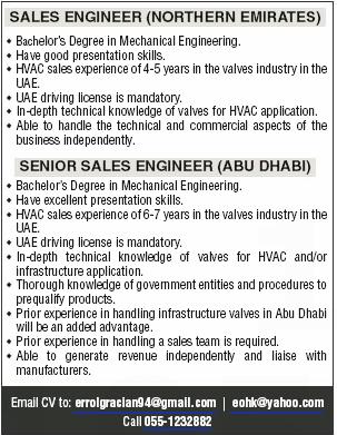 Sales Engineer in a company United Arab Emirates Abu Dhabi
