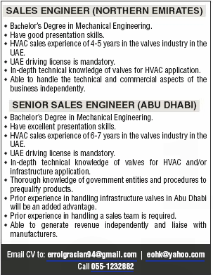 Senior Sales Engineer in a company United Arab Emirates Abu Dhabi