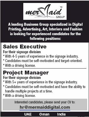 Sales Executive in a company United Arab Emirates Dubai