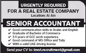 Senior Accountant in a company United Arab Emirates Al Ayn
