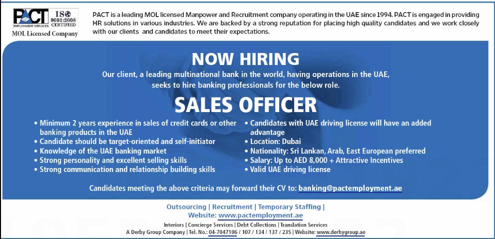 Sales Officer in a company United Arab Emirates Dubai