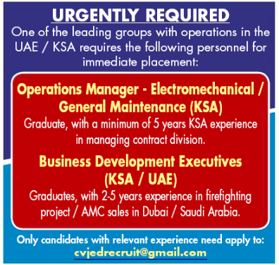 Operations Manager in a company United Arab Emirates Dubai