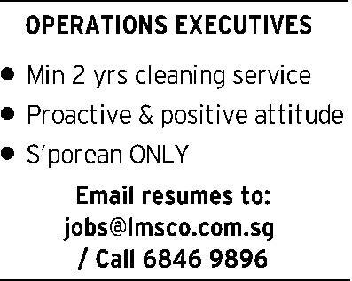 Operations Executive in a company Singapore Singapore
