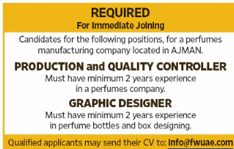 QUALITY CONTROLLER in a company United Arab Emirates Ajman