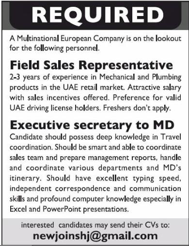Field Sales Representative in a company United Arab Emirates Dubai