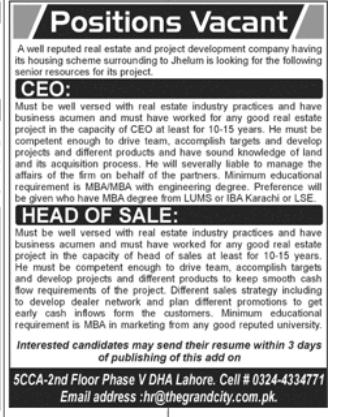 CEO in a company Pakistan Rawalpindi
